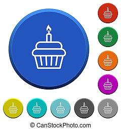 Birthday cupcake beveled buttons