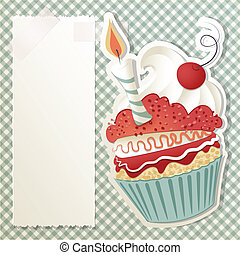 Birthday cupcake - Birthday card with funny cupcake and...