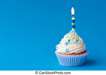 Birthday cupcake - Blue birthday cupcake with copy space at...