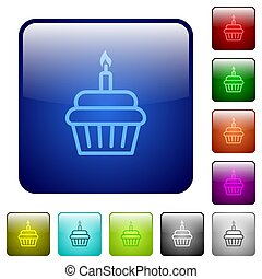 Birthday cupcake color square buttons