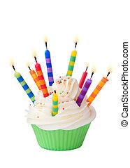 Birthday cupcake - Cupcake decorated with lots of brightly...