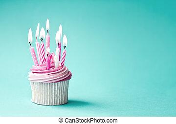 Birthday cupcake - Cupcake decorated with pink birthday...