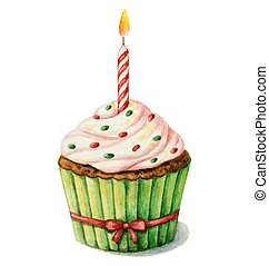 Birthday cupcake - Cupcake with a candle on a birthday,...