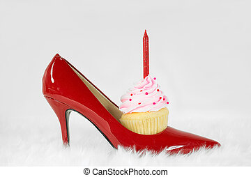 birthday cupcake in red shoe