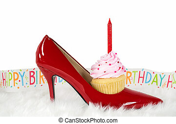birthday cupcake in red show on fur