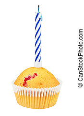 Birthday cupcake isolated