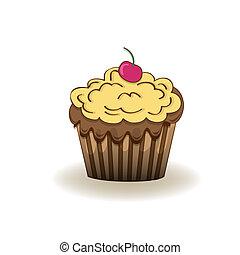 Birthday cupcake, Isolated On White