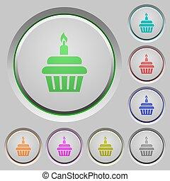 Birthday cupcake push buttons