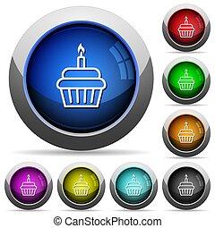Birthday cupcake round glossy buttons