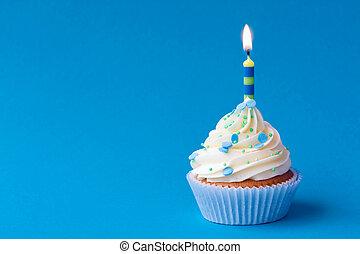 Birthday cupcake - Blue birthday cupcake with copy space at...