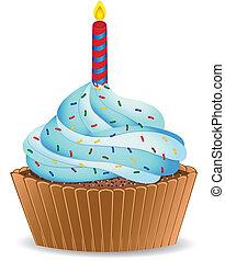 Birthday cupcake vector illustration