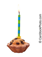 Birthday cupcake with a candle isolated on a white background.