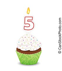 Birthday cupcake with candle in shape of number five