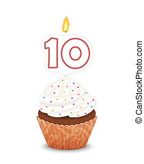 Birthday cupcake with candle in shape of number ten