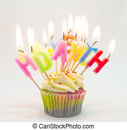 Birthday cupcake with candle letter happy birth day