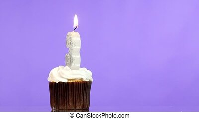 Birthday cupcake with candle number three. - Birthday...