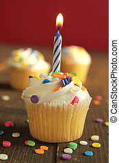 Birthday cupcake with candle on a orange background