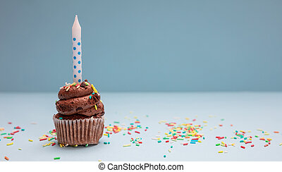 Birthday cupcake with candle on blue pastel background, copy space.