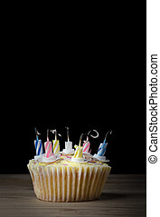 Birthday Cupcake with Candles Blown Out
