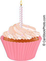 Birthday Cupcake With Candles, Isolated On White Background,...