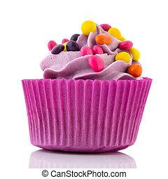Birthday cupcake with confetti