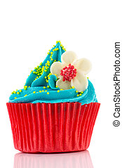 Birthday cupcake with flower