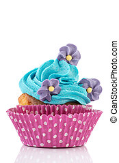 Birthday cupcake with flowers