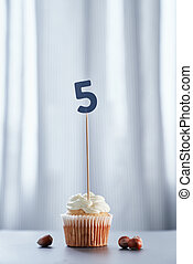 Birthday cupcake with number 5 five