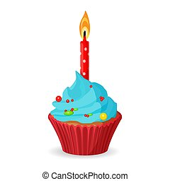 Birthday cupcake with one burning candle, blue cream with caramel