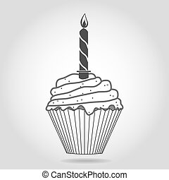 birthday cupcake with one candle, gray tone, vector