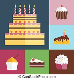 Birthday cupcakes icons set