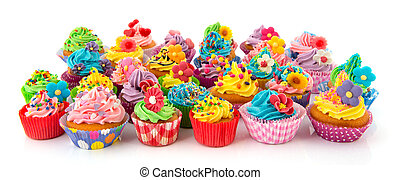 Birthday cupcakes - many sweet birthday cupcakes with...