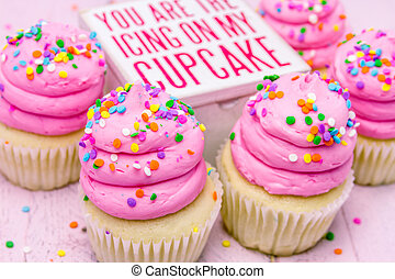 Birthday Cupcakes with Pink Frosting