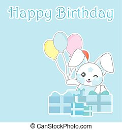 Birthday day illustration with cute blue bunny with balloons and gifts on blue background