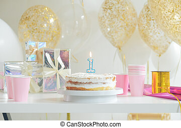 Birthday decorated cake on colorful background