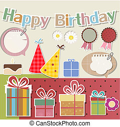 Birthday design elements for scrapbook - Birthday design...