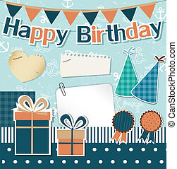Birthday design elements for scrapbook