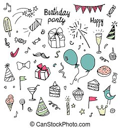 birthday doodle collection of hand-