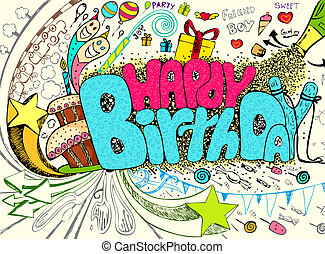 Birthday Doodle - illustration of colorful happy birthday...