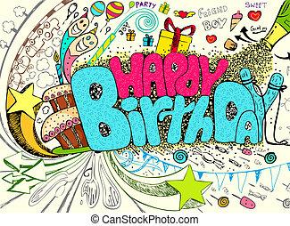 Birthday Doodle - illustration of colorful happy birthday...