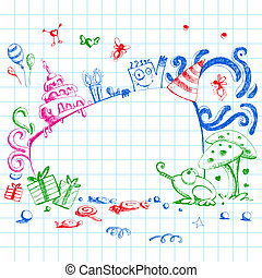 Birthday Doodle Style - illustration of happy birthday card...