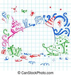 Birthday Doodle Style - illustration of happy birthday card...
