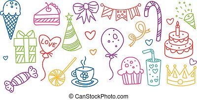 Birthday elements set, hand drawn party symbols vector illustration