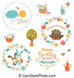 Birthday elements with cute animals and wreath