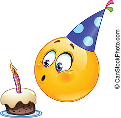 Birthday emoticon blowing cake candle
