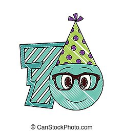 birthday emoticon party hat and number decoration
