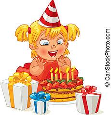Birthday - Little girl having fun celebrating her birthday....