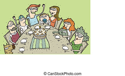 birthday:, eps10, autour de, famille, illustration, main, célébrer, vecteur, mode!, dessiné, table.