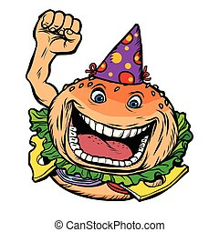 birthday fast food Burger. Comic cartoon pop art retro vector illustration hand drawing