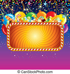 Festive billboard background with balloons, confetti and over birthday decoration. Ready for celebrating and greeting text or design.